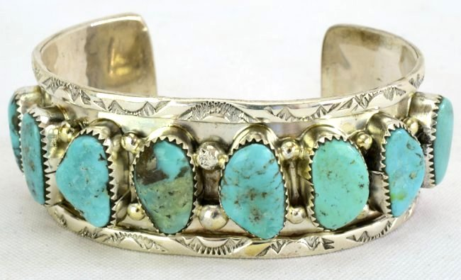 Sterling Silver Navajo Old Pawn Turquoise Bracelet - 2