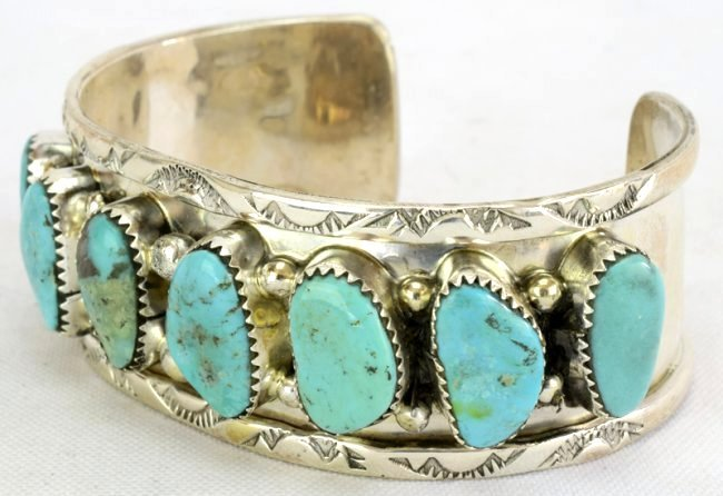 Sterling Silver Navajo Old Pawn Turquoise Bracelet - 3