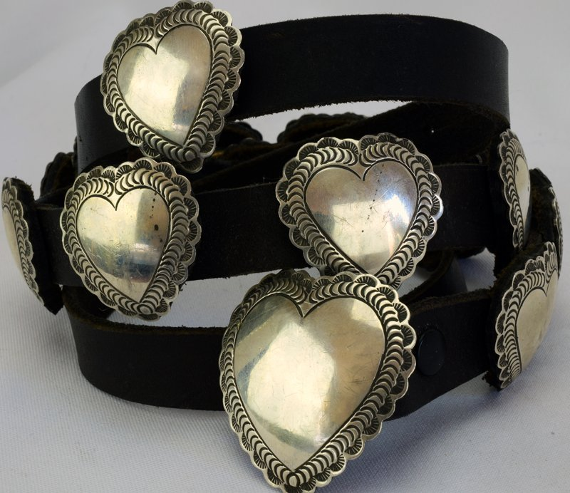 Navajo Sterling Old Pawn Heart Concho Belt-Leather Back