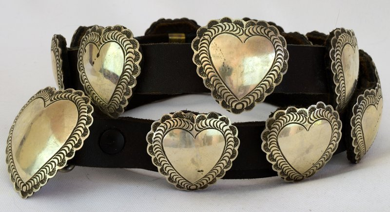 Navajo Sterling Old Pawn Heart Concho Belt-Leather Back - 2