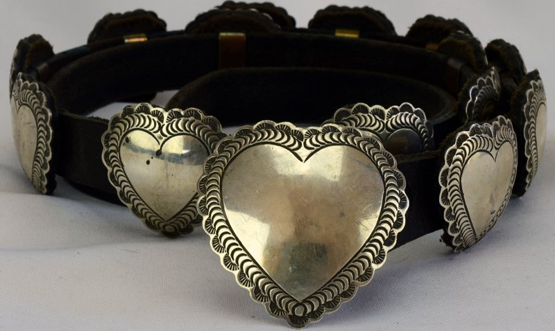 Navajo Sterling Old Pawn Heart Concho Belt-Leather Back - 6