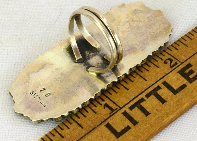 Navajo Sterling Silver Long Cluster Ring - 4