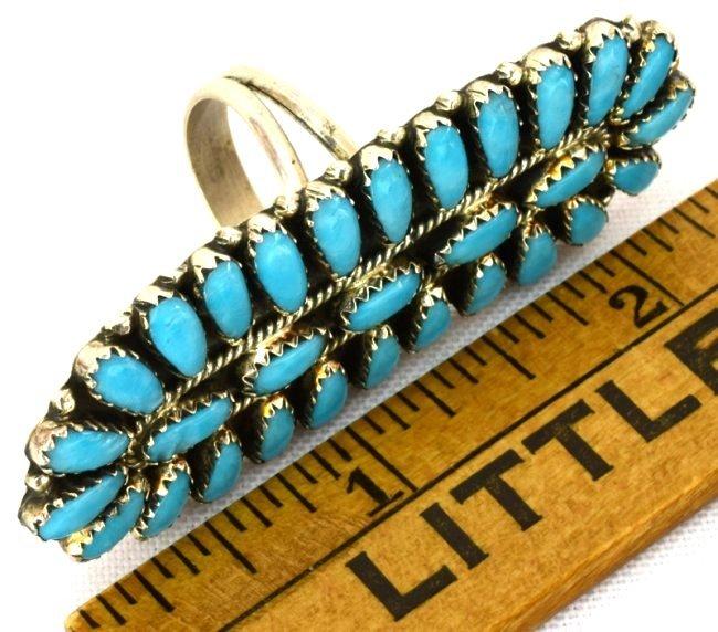 Navajo Sterling Silver Long Cluster Ring - 5