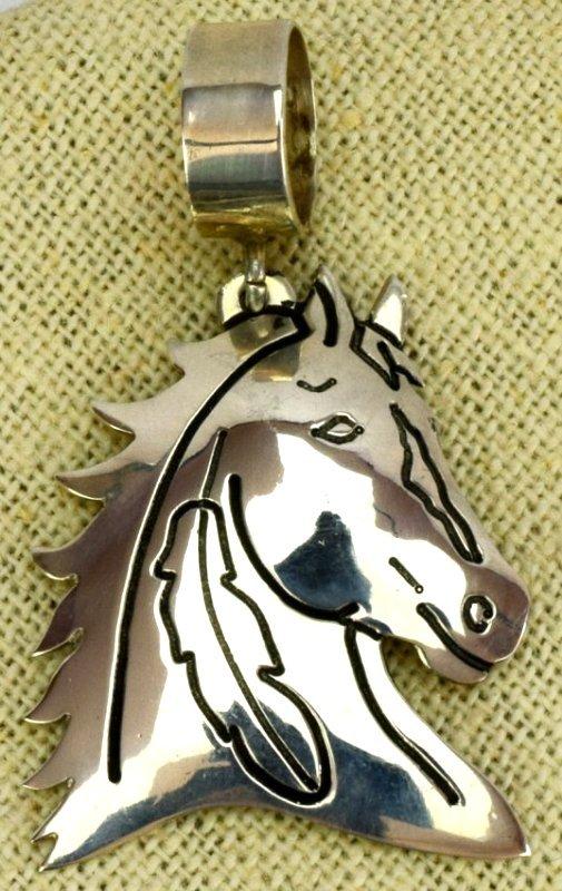 Vintage Sterling Horse Head Pendant by Tommy Singer