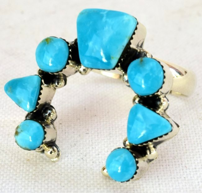 Native American Sterling Turquoise Naja Ring