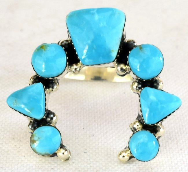 Native American Sterling Turquoise Naja Ring - 2