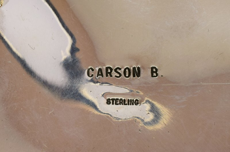 Native American Sterling Silver Belt Buckle w/turq. - 3