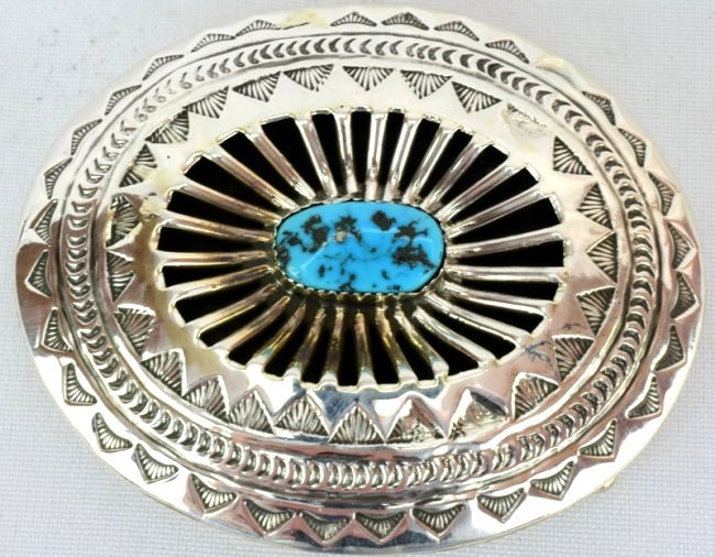 Native American Sterling Silver Belt Buckle w/turq. - 5
