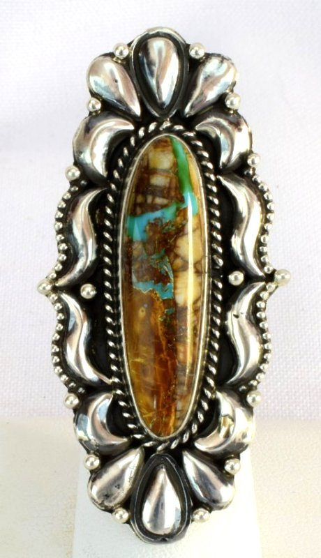 Navajo Sterling Repousse Ring with Turquoise
