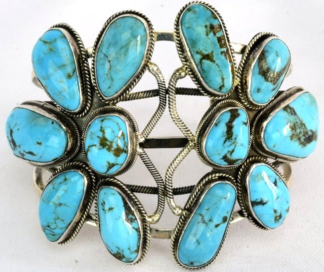 Navajo Sterling Double Dragonfly Turquoise Bracelet