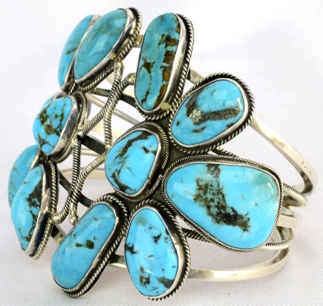 Navajo Sterling Double Dragonfly Turquoise Bracelet - 2