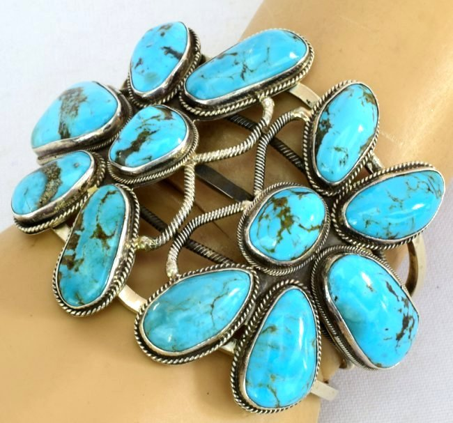 Navajo Sterling Double Dragonfly Turquoise Bracelet - 5