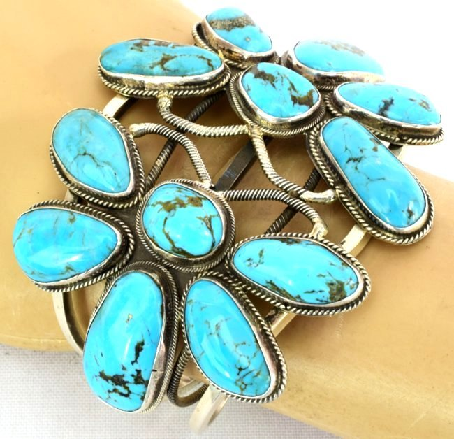 Navajo Sterling Double Dragonfly Turquoise Bracelet - 6