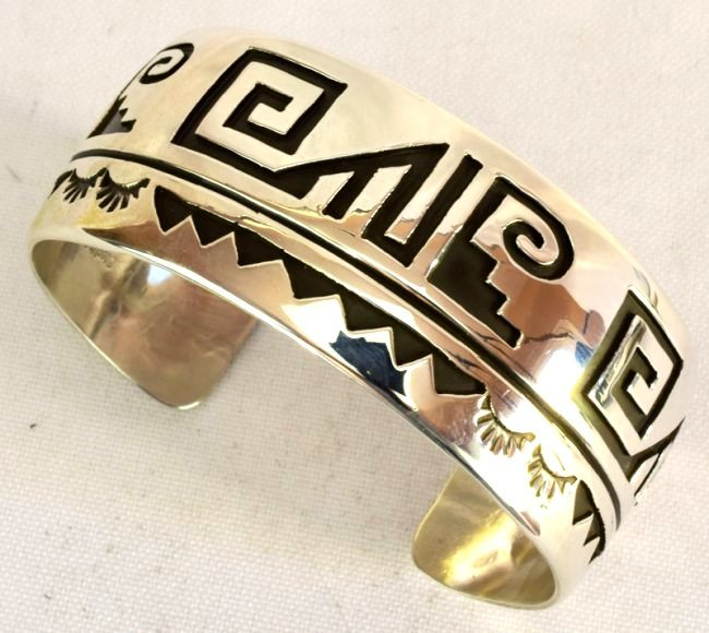 Native American Sterling Silver Cuff BraceletMeasures