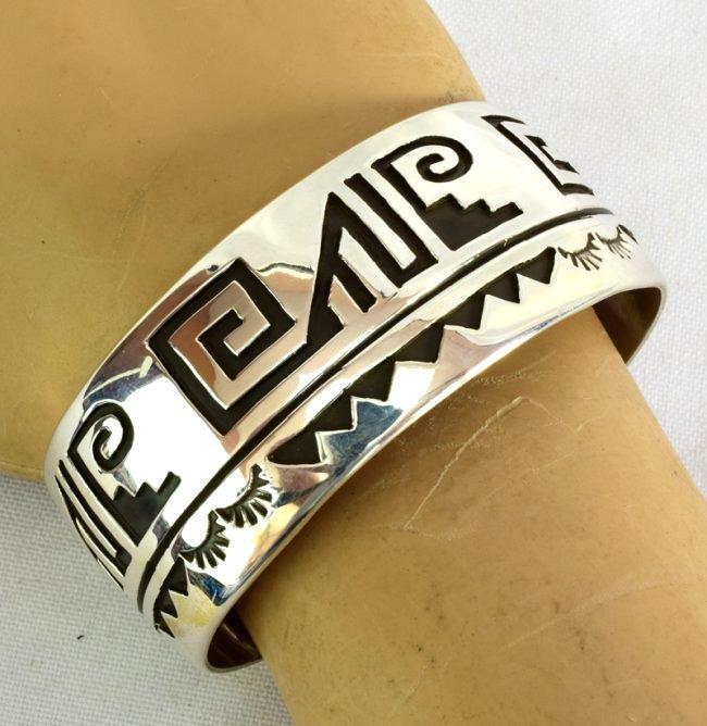 Native American Sterling Silver Cuff BraceletMeasures - 2