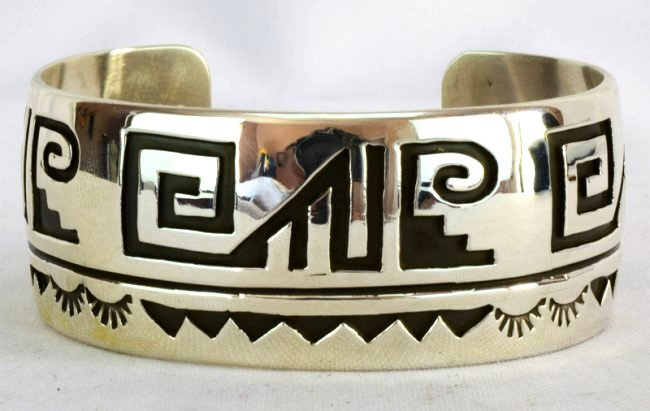 Native American Sterling Silver Cuff BraceletMeasures - 3
