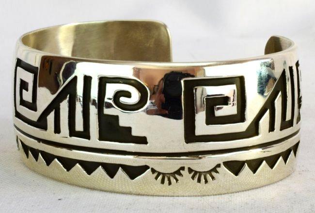 Native American Sterling Silver Cuff BraceletMeasures - 4