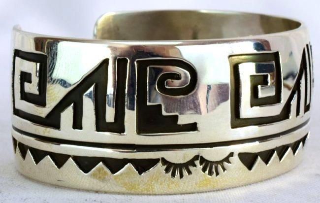 Native American Sterling Silver Cuff BraceletMeasures - 5