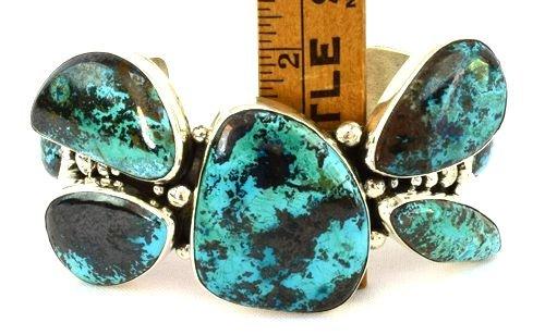Navajo Sterling Huge Turquoise Cuff Bracelet -149 Grms. - 4