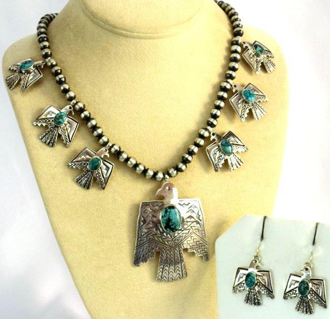Navajo Sterling Thunderbird Earrings & Necklace Set