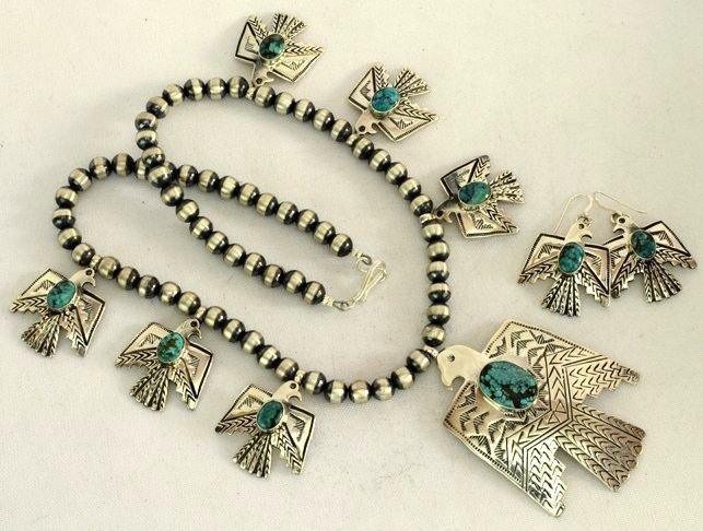 Navajo Sterling Thunderbird Earrings & Necklace Set - 2