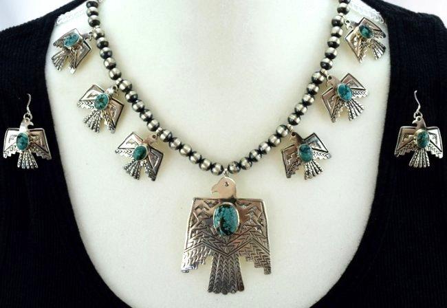 Navajo Sterling Thunderbird Earrings & Necklace Set - 3