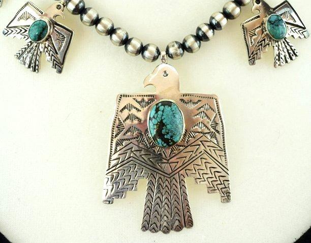 Navajo Sterling Thunderbird Earrings & Necklace Set - 4