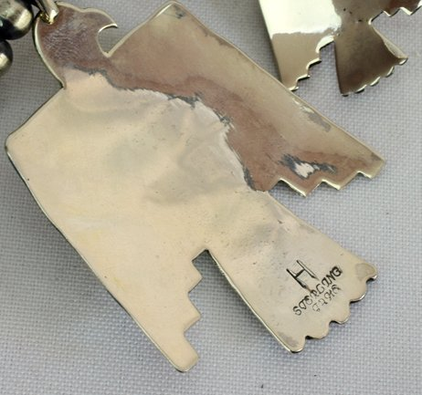 Navajo Sterling Thunderbird Earrings & Necklace Set - 5
