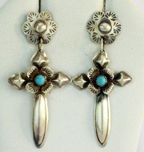 Navajo Sterling Silver Cross Earrings w/Turquoise