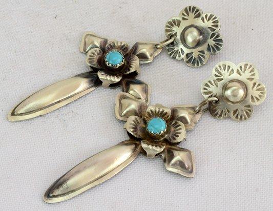 Navajo Sterling Silver Cross Earrings w/Turquoise - 2