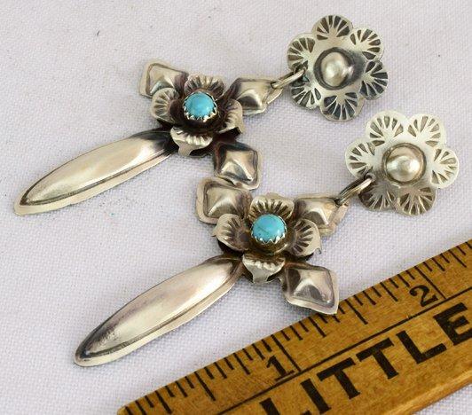 Navajo Sterling Silver Cross Earrings w/Turquoise - 3