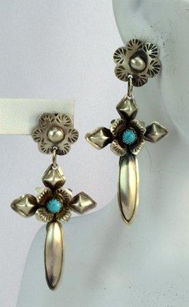 Navajo Sterling Silver Cross Earrings w/Turquoise - 5