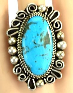 Native American Sterling Natural Turquoise Ring - 3