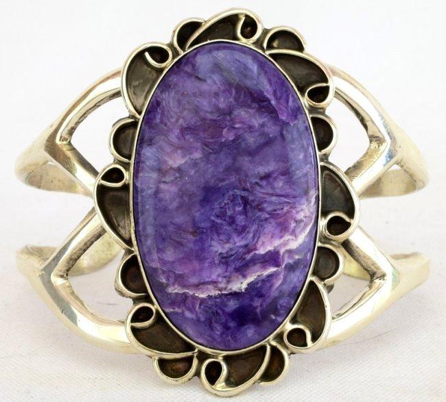 Native American Sterling Lg. Charoite Cuff Bracelet