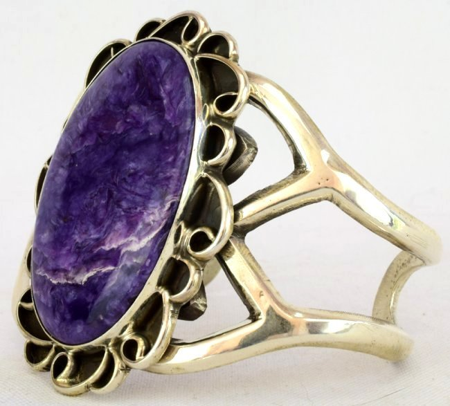 Native American Sterling Lg. Charoite Cuff Bracelet - 2