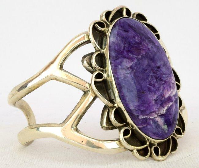 Native American Sterling Lg. Charoite Cuff Bracelet - 3