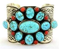 Navajo Wide Collector Turquoise and Coral Bracelet