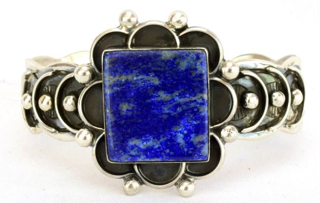 Native American Sterling Silver Lapis Cuff Bracelet - 2