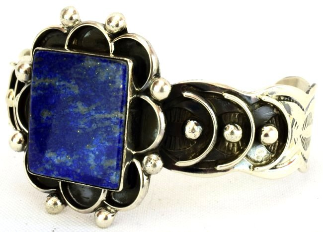 Native American Sterling Silver Lapis Cuff Bracelet - 3