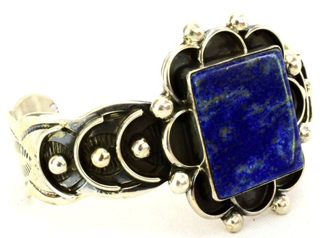 Native American Sterling Silver Lapis Cuff Bracelet - 4