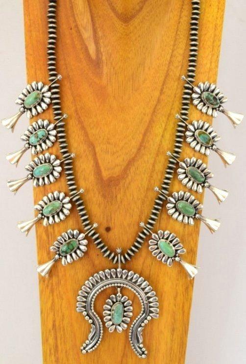 Navajo Sterling Silver Squash Blossom Necklace Set
