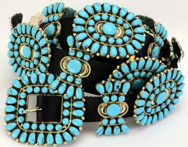Sterling and Turquoise Statement Concho Belt -Bold !