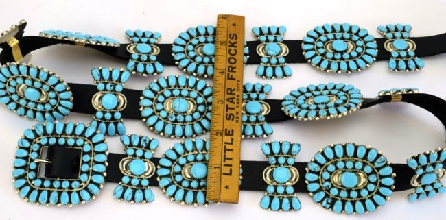 Sterling and Turquoise Statement Concho Belt -Bold ! - 3