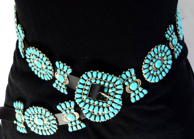 Sterling and Turquoise Statement Concho Belt -Bold ! - 5