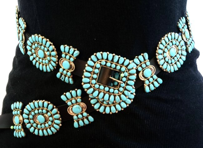 Sterling and Turquoise Statement Concho Belt -Bold ! - 6