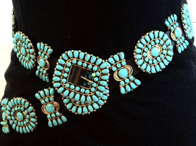 Sterling and Turquoise Statement Concho Belt -Bold ! - 7