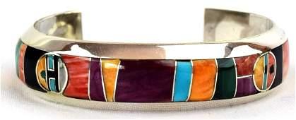 Navajo Multi Stone Inlay Sterling Silver Bracelet