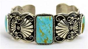 Native American Sterling Turquoise Heavy Bracelet w/Tur