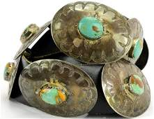 Old Pawn Sterling & Turq. Concho Belt by Robert Begay