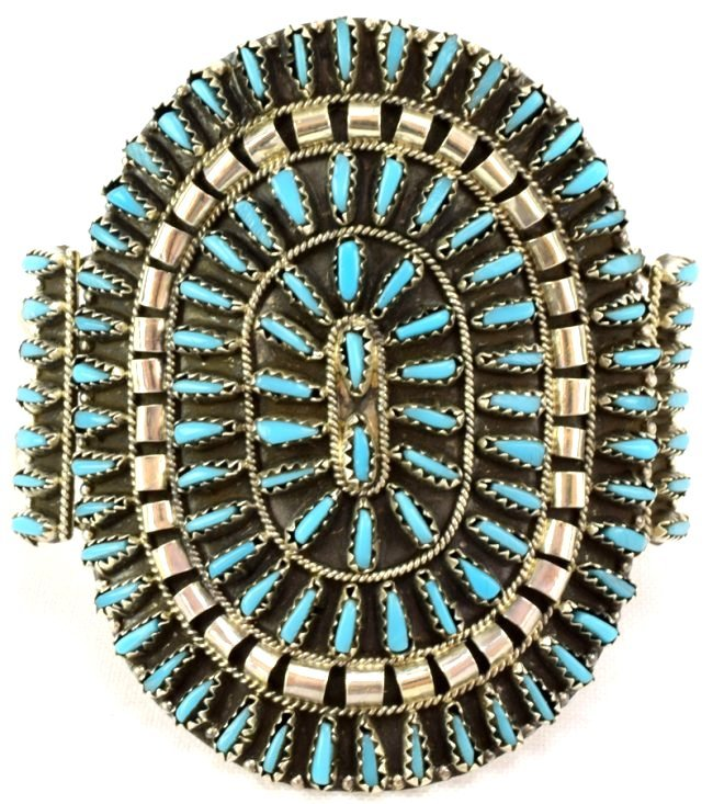 Navajo Turquoise Sterling Needlepoint Cuff Bracelet